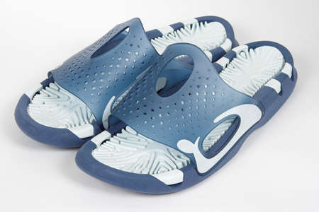 blue and white antislide sandals for the swimming pool