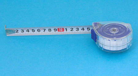 millimeter: meter with millimeter scale on blue background