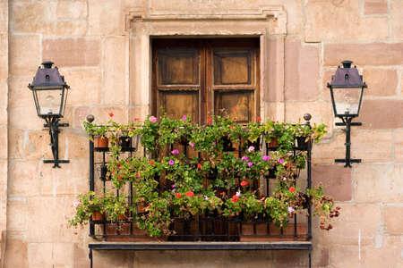 balcony with pelargoniums in autumn Stock Photo