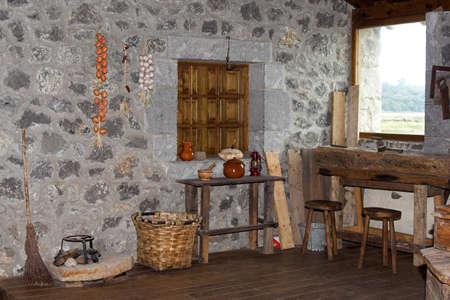 rural house with repair shop, Cantabria, Spain Stock Photo