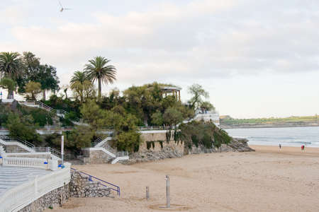 touristic beach, gardens of Piquio, Santander, Spain