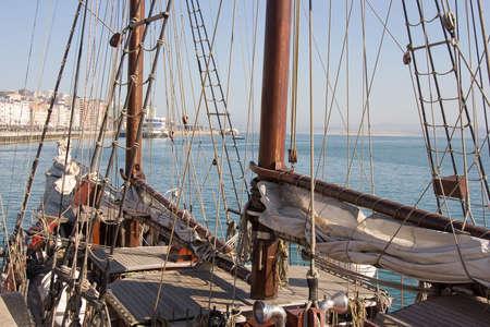 schooner: schooner at the Santander bay, Spain Stock Photo