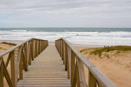 cantabria: beach track at Liencres, Cantabria, Spain