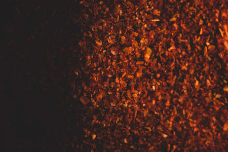 Macro close up portrait of organic crashed dry chile, studio lighting, selective focus