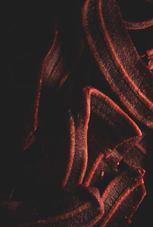 Macro close up of bacon shaped Dog treats snack