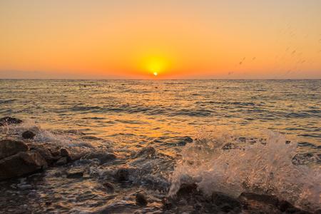 Sunrise over blue hole. Dahab. Stock Photo