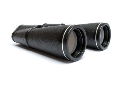 Big black binoculars isolated on white background
