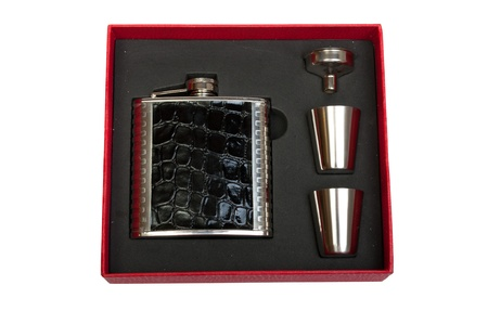 Hip flask and cups with white background Stock Photo - 16603225