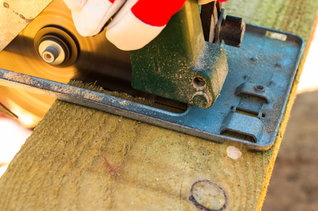 sawing: Sawing rotary saw Stock Photo
