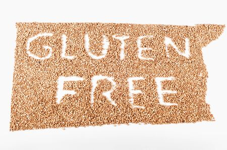 coeliac: Writen Gluten free in buckwheat Stock Photo