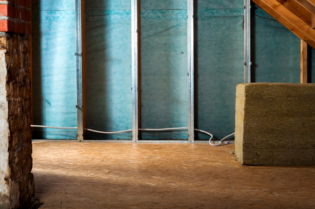 rockwool: home insulation on a roof Stock Photo