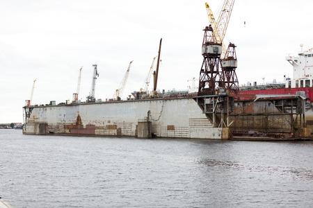 shipbuilding: Shipyard industry, ship building,floating dry dock in shipyard Stock Photo