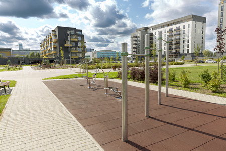Modern urban outdoor gym in new residential district Stock Photo