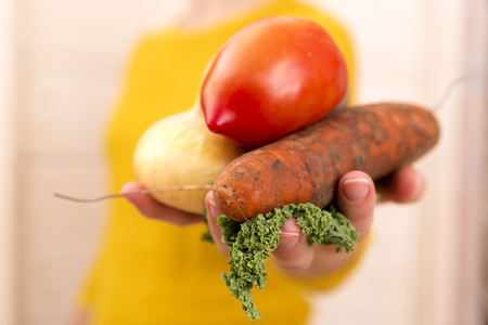 woman's hands: Organic vegetables. Womans hands with freshly harvested vegetables. Carrots, onion, greens, potato Stock Photo