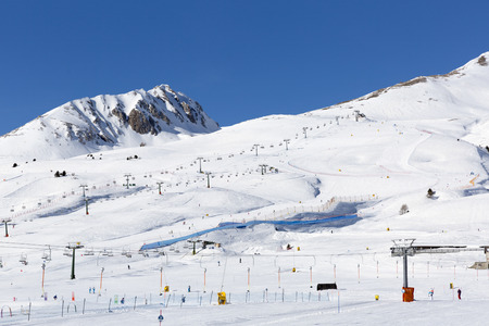 Slopes and lifts at ski resort in Italy, Alps Stock Photo