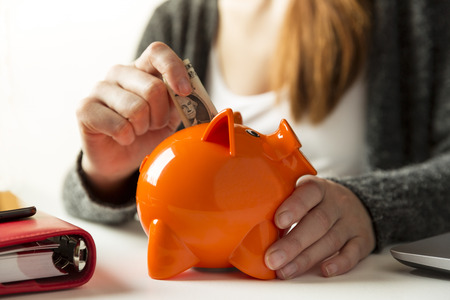 Woman inserting dollar bill in a piggy bank at home in the living room or office Stock Photo