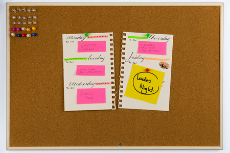 Planner with a busy week. On a weekend planned girlsladies night out. Stock Photo