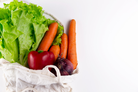 zero waste concept. Vegetables in a woven bag.
