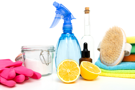 Eco-friendly natural cleaners, cleaning products. Homemade green cleaning Banco de Imagens