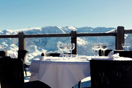 Alpine outdoor restaurant at ski resort in Alps, France