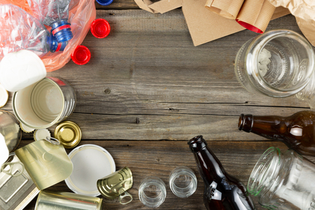 Plastic, glass, metal and paper garbage for recycling concept reuse and recycle. Copy space Stock Photo