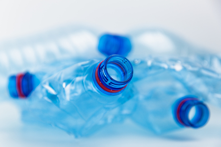 Composition with plastic bottles of mineral water. Plastic waste. Plastic bottles recycle background concept Stock Photo