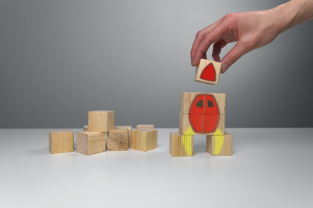 Wooden blocks with rocket illustration. Start up business launch success concept Stock Photo