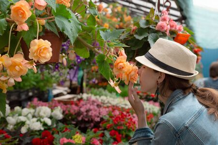Young woman shopping in an outdoors fresh urban flowers market, buying and picking from a large variety of colorful floral bouquets during a sunny day in the city Standard-Bild