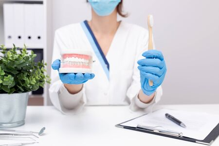 Female dentist holding professional stomatology tool and pointing at the teeth model. Dental hygiene and health concept