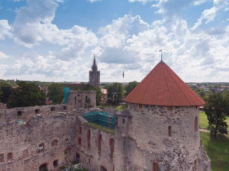 Aerial view of old castle in Cesis, Latvia Banco de Imagens