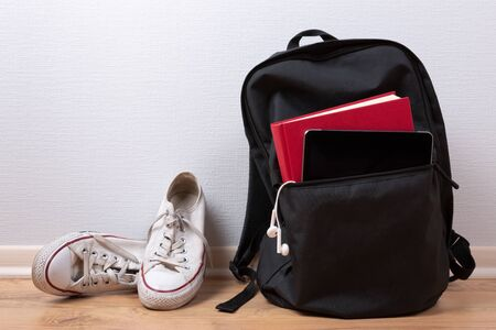 Sports bag with sports equipment. Sportswear and running shoes 版權商用圖片