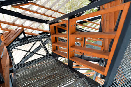 Abstract view of staircases to tower. Backgrounds. Stockfoto