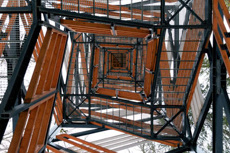 Abstract view of squere spiral staircases to observing tower. Backgrounds.