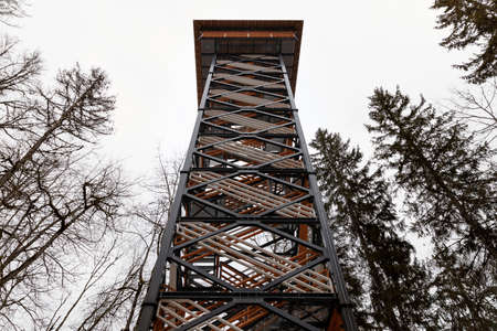 Observation tower in a naltional park, relaxation and sight seeing concept.