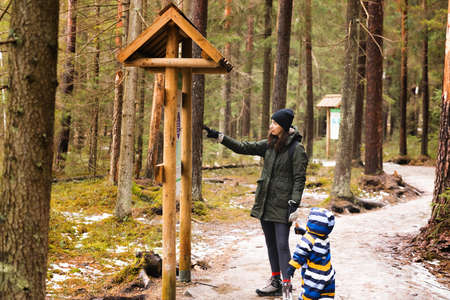 Young mother and child taking a walk in a national park woods. Mother showing information on stand to boy. Healthy living concept.
