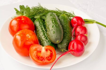 Green ripe vegetables on a white background 스톡 콘텐츠