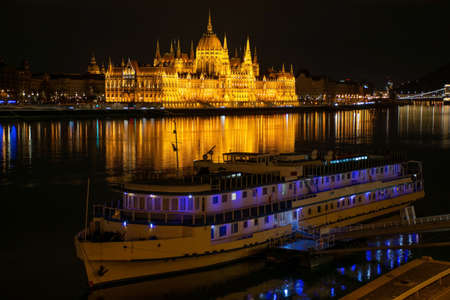 Hungary, night city Budapest, parliament on the background of the night city