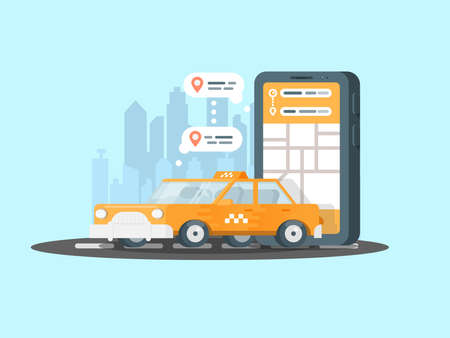 Smartphone with taxi service application on a screen and car. Mobile app for onlline taxi ordering.