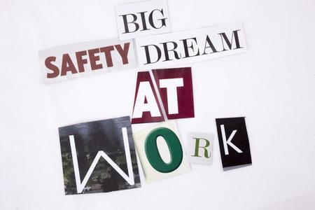 スペースと白い背景のビジネス概念の異なる雑誌新聞文字の仕事で大きな安全の夢の概念を示すテキストを書く単語