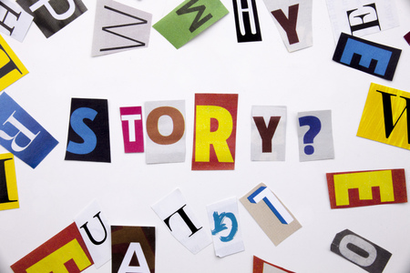 A word writing text showing concept of STORY made of different magazine newspaper letter for Business case on the white background with space Stock Photo
