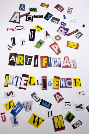 A word writing text showing concept of ARTIFICIAL INTELLIGENCE made of different magazine newspaper letter for Business case on the white background with space Stock Photo