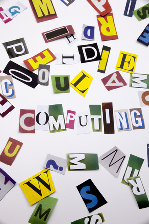 A word writing text showing concept of CLOUD COMPUTING made of different magazine newspaper letter for Business case on the white background with space