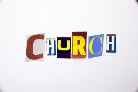 A word writing text showing concept of Church made of different magazine newspaper letter for Business case on the white background with space Imagens