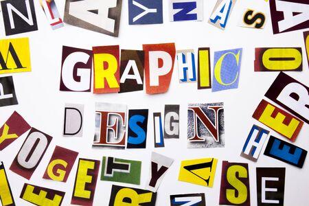 グラフィック デザインの概念を示すテキストを書く単語作った空間で白い背景にビジネス ・ ケースの異なる雑誌新聞文字の 写真素材