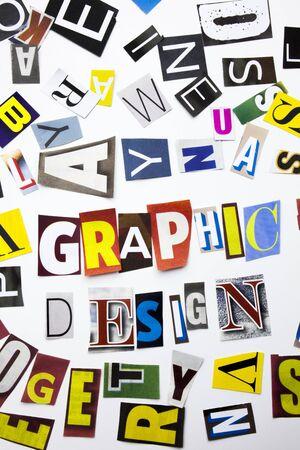 スペースで白い背景にビジネスケースのための別の雑誌の新聞の手紙で作られたグラフィックデザインの概念を示すテキストを書く単語 写真素材