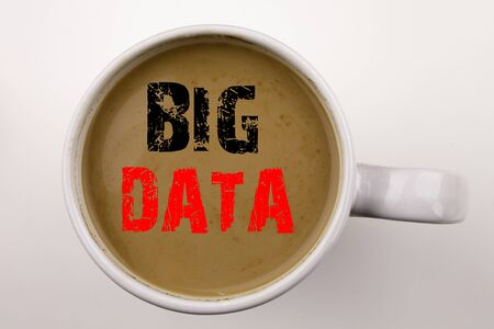 Word, writing Big Data text in coffee in cup. Business concept for Storage Network Online Server on white background with space. Black text with red word.