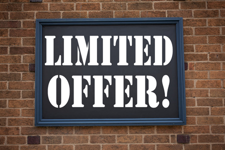 consumerism: Conceptual hand writing text caption inspiration showing announcement Limited Offer. Business concept for Limited Time Sale written on frame old brick background space
