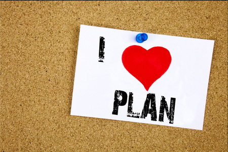 Hand writing text caption inspiration showing I Love Plan 2018 concept Stock Photo