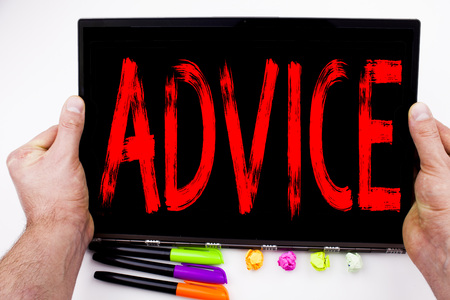 Advice text written on tablet, computer in the office with marker, pen, stationery. Business concept for Suggestion guidance concept white background with space