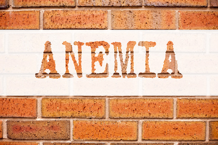 Conceptual announcement text caption inspiration showing Anemia. Business concept for Medical Diagnosis Iron deficiency aplastic written on old brick background with space
